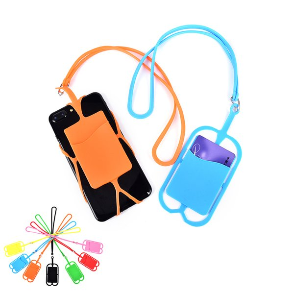 Universal mobile soft Silicone case with long Lanyard strap pounch card slot holder for iphone X 8 7 plus samsung Huawei phone