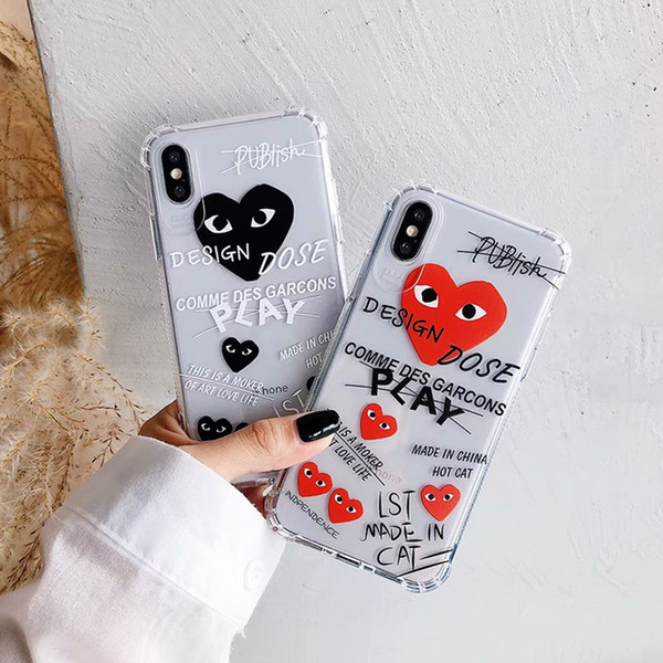 Super Anti-knock Soft TPU Transparent Clear Phone Case Protect Cover Shockproof Soft Cases For iPhone 11 Pro 7 8 X XR XS Max Graffiti Letter