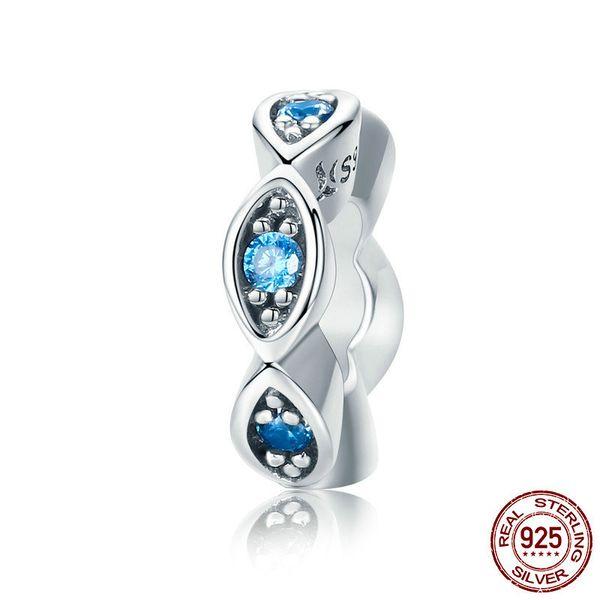 Gerçek 100% 925 Ayar Gümüş Şanslı Mavi Göz Işıltılı CZ Spacer Charm Boncuk fit Orijinal Kadınlar Bilezik El Yapımı gümüş takı