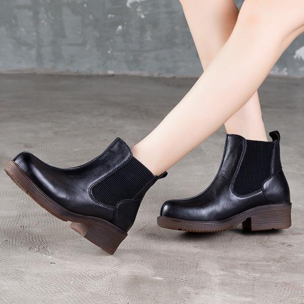 Vallu original leder booties schuhe frau 2019 herbst new england stil weibliche vintage handgemachte stiefel dicke ferse stiefeletten