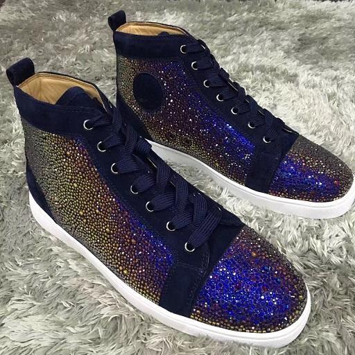 Diamond Sneakers Shoes Men, Women Leisure Flats Fashion Red Bottom Strass Sneaker Shoes vestido de fiesta Luxury Winter Trainer tamaño 35-47