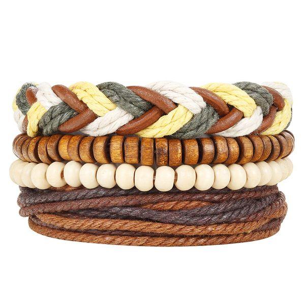 Weave Multilayer Wrap Bracelet Skull Bead Charm Leather Adjustable Bracelet Bangle Cuffs Band for Women Men Fashion Jewelry