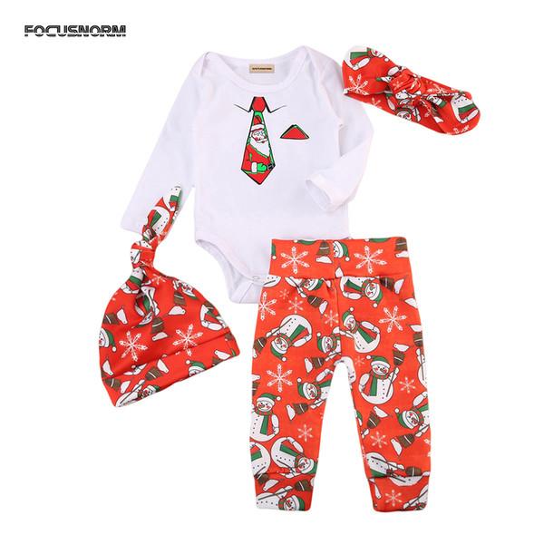 Xmas infantile dei ragazzi delle neonate abiti di stampa tie pagliaccetto lungo pupazzo di neve rosso Pantaloni cappello fascia vestiti Outfits fissati per il bambino di Natale