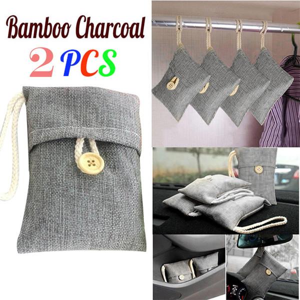2PCS saco Car Bamboo Charcoal Carvão Ativado Air Freshener Odor Desodorante New PU umidade adsorção de couro