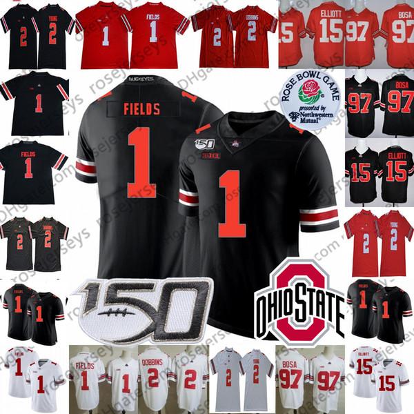2019 Staat Ohio-Rosskastanien # 1 Justin Felder # 2 JK Dobbins Chase Junge # 15 Elliott Haskins Nick Bosa OSU Rose Bowl NCAA 150. Jersey