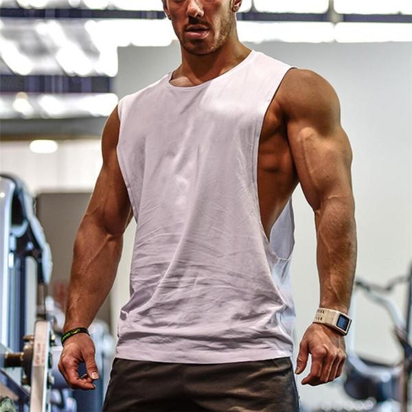 Erkek Kesip Kolsuz gömlek Spor Salonları Stringer yelek Boş Egzersiz T-Shirt Kas Tee Vücut Geliştirme Tank Top Spor Giyim # 321512