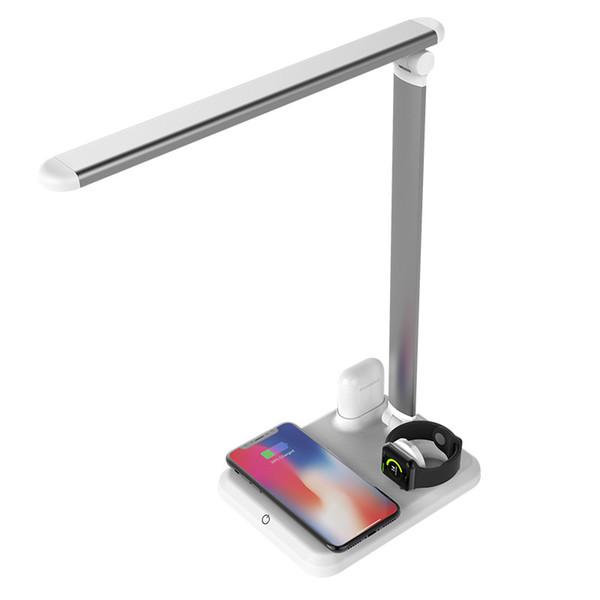 4 in 1 APPLE MATE Pieghevole LED Desk Lamp USB Stazione di ricarica Fast QI Wireless caricabatterie Base per iWatch Apple Headset per Apple Phone XR