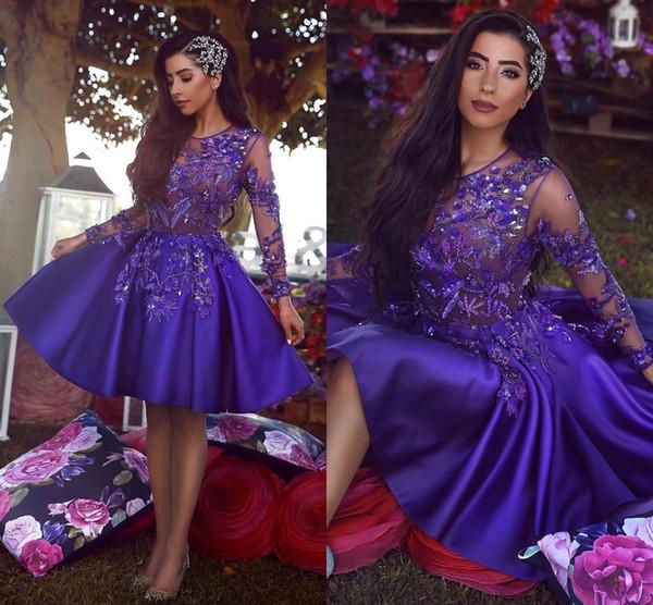 Said Mhamad cuello redondo Sheer mangas largas Vestidos de cóctel cortos Ilusión Corpiños Apliques de encaje Satén Vestido de fiesta corto Vestido de fiesta BC1227