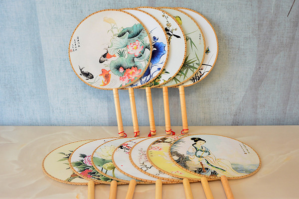 bamboo silk handle round hand fan with tassels pendant - classic palace paddle party gift wedding favors court dance supplies