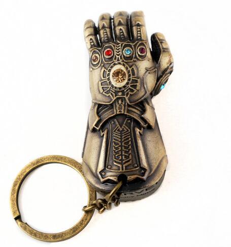 Thanos luva Gauntlet Abridor de Garrafa Keychain Vingadores 3 Guerra Infinito Poder Pedra Cristal Chaveiro Homens Melhor amigo llavero Jóias