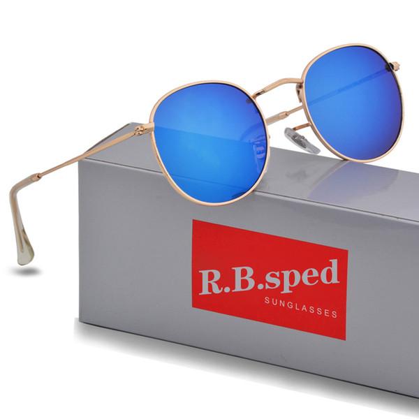 1 adet Yüksek Kalite Moda Yuvarlak Güneş Mens Womens Tasarımcı Marka Güneş Gözlükleri Altın Metal Siyah Koyu uv400 Lensler Daha Iyi Kahverengi Durumda