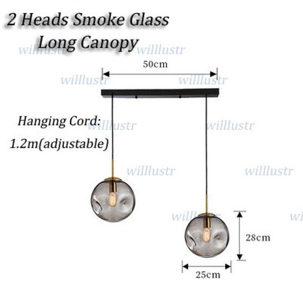 2 Teste di fumo di vetro lungo Canopy