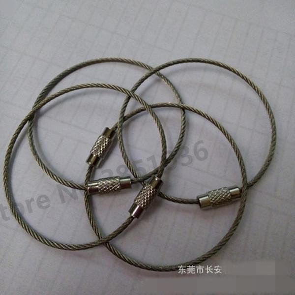 100 stücke Schraube Locking Edelstahl Draht Keychain Kabel Seil Schlüsselhalter schlüsselanhänger Kabel Outdoor Wandern schlüsselanhänger