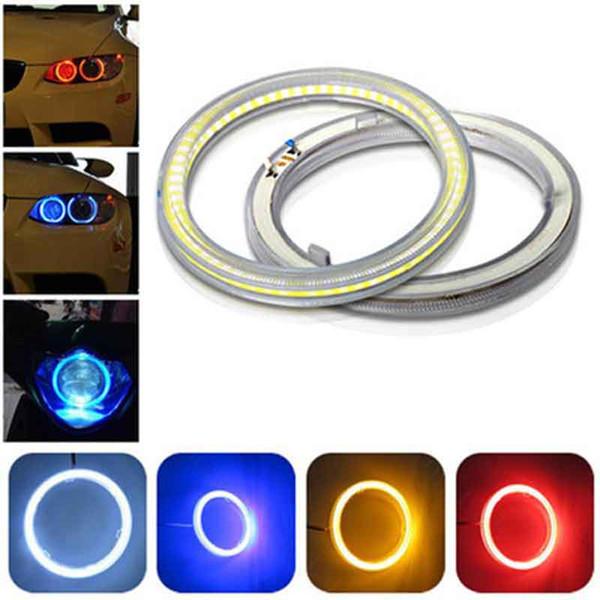 2x Angel Eyes Led COB Halo Halka Araç DRL Gündüz Işıklar 60 70 80 90 100 110 120 mm Motosiklet Far Sis Işık Sürüş
