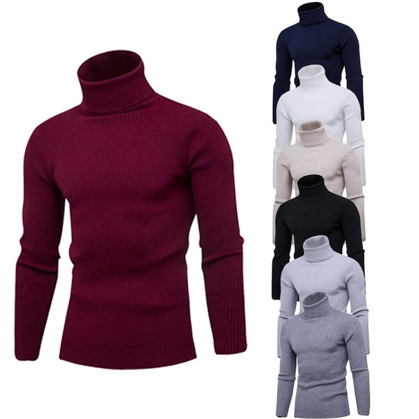 Puimentiua Mens Sıcak Balıkçı Yaka Kazak Marka 2019 Sonbahar Kış Temel Örme Kazak Casual Slim Fit Kazak Giyim Tops