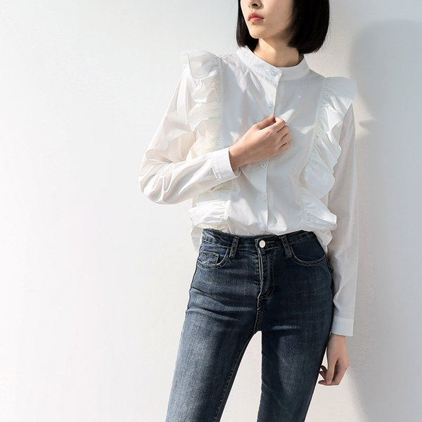 Frauen Shirts Streetwear Chic Sommer Langarm Stehkragen Tops Modedesigner Weibliche Taste Up Weiß Lose Rüschen Bluse