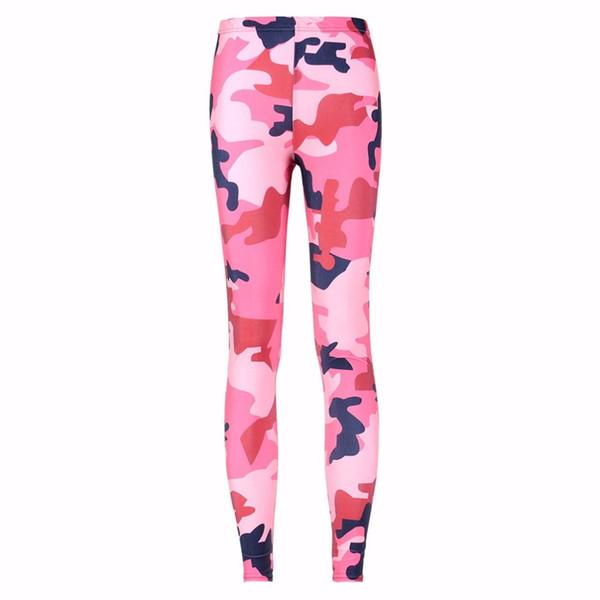 3085 Girl Pink Plum camouflage CAMO pirate Printed Elastic Slim GYM Fitness Women Sport Leggings Yoga Pants Trousers Plus Size #821884