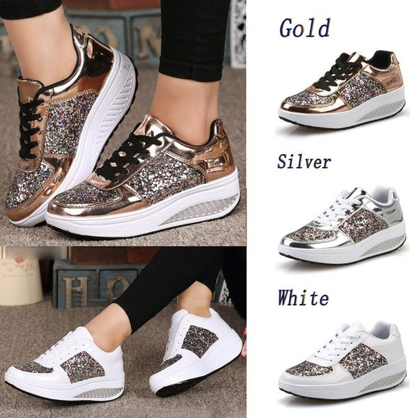 73a0ce634bc Women'S Flat Shoes PU Leather Sequins Casual Running Lace Up Shoes Sequins  Shake Fashion Girls Sport Sneakers Shoes Geox Shoes From Classycolor, ...