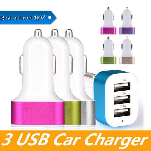 High Quality Universal Vehicle USB Car Charger Aluminum Alloy 3 USB Ports For Android Smart Phone Car Charger for Apple iPhone X XS