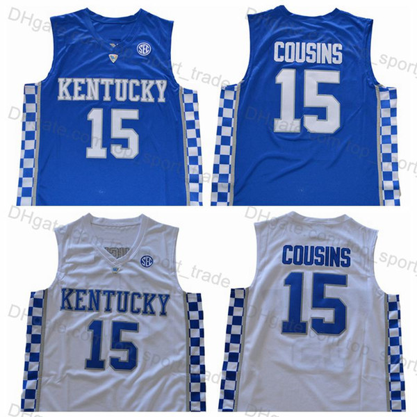 Mens Kentucky Wildcats #15 DeMarcus Cousins Jerseys Stitched Home Blue Road White DeMarcus Cousins College Basketball Jerseys Free Shipping