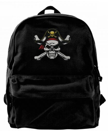 Pirate Skull and Crossbone with Eye Patch and Capt Fashion Canvas designer backpack For Men & Women Teens College Travel Daypack Leisure bag