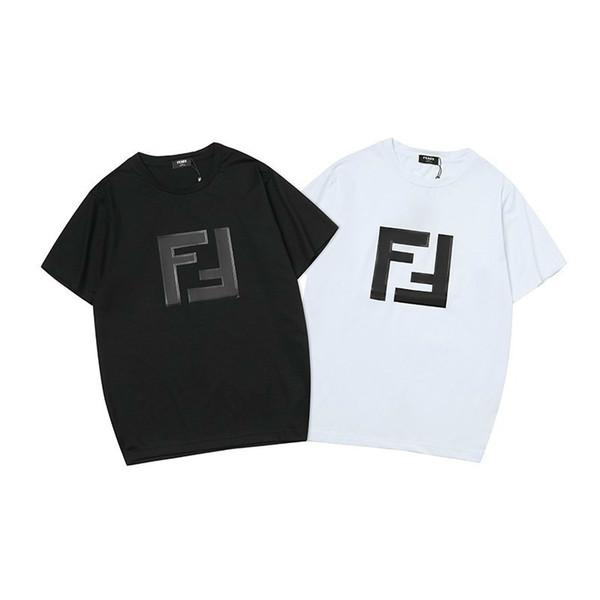 T-Shirts für Männer neue T-Shirt Rundhals Brief Druck Stickerei Seide Baumwollgewebe Kurzarm Wild Fashion Shirt schwarz weiß