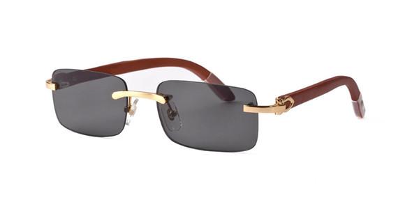Wholesale-designer rimless sunglasses rectangular white buffalo horn glasses men women brand name bamboo wood sunglasses with clear lenses