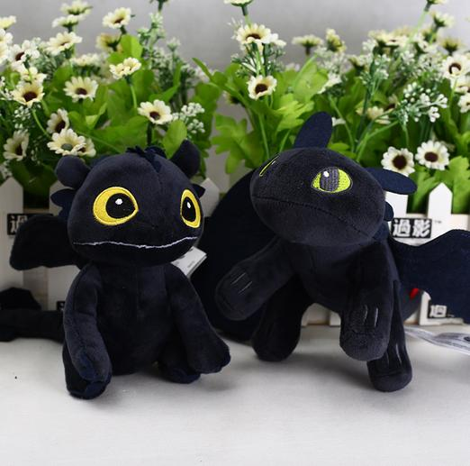 15cm How to Train Your Dragon 3 Plush Toy Movie Toothless Light Fury Black Dragon Stuffed Animals Kids Gifts Novelty Items CCA11373 60pcs