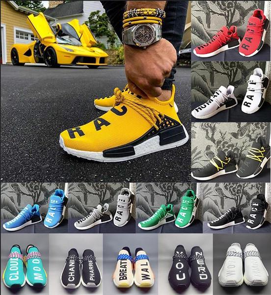 2019 Оптовой Human Race Тропа Обуви Мужчины Женщина Pharrell Williams Желтой основная благородных чернил черная красная белая случайная обувь кроссовки большого размера 5-12