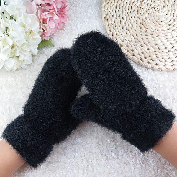 Fashion-Female Gloves Causal Wrist 30ft Winter Warm Women Glove Knitted Mittens Plush Thick Warm Womens Mittens Sarung tangan#W