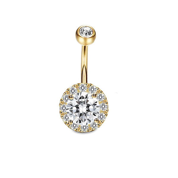 316L Stainless Steel Flower Crystal Navel Bars Gold Belly Button Ring Navel Piercing Jewelry