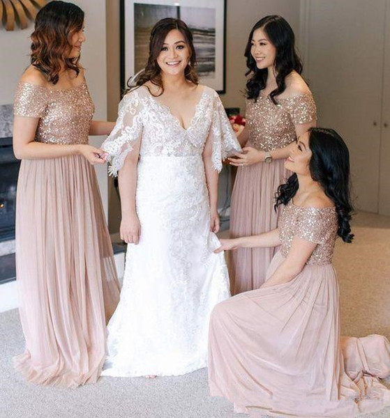 Blush Sequined Bridesmaid Dresses Off Shoulder Sweep Train Country Plus  Size Wedding Guest Evening Dresses Party Maid Of Honor Gowns Long  Bridesmaid ...