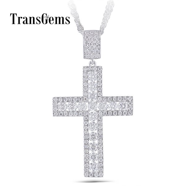 Transgems Cross Shaped Pendant For Men Platinum Plated Silver Clear Moissanite Vvs1 With Silver Chain Y19032201