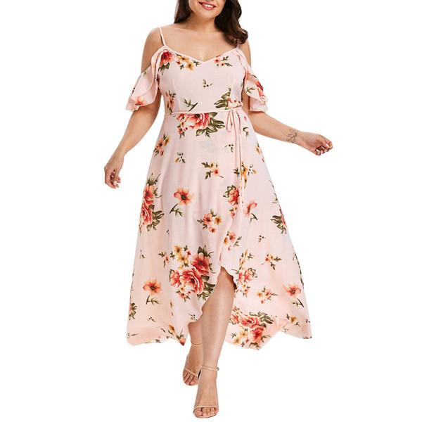 Plus Size Summer Dress Women Sexy Dress V-Neck Casual Short Sleeve Cold Shoulder Boho Flower Print Butterfly Sleeve Long
