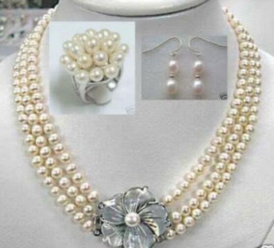Jewelryr Pearl Set Graceful White Akoya Pearl Necklace Ring Earrings 7-8mm Free Shipping