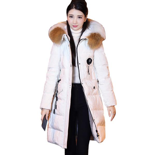 Down Jacket Female 2018 Winter New Korean Fashion Long Corduroy White Duck Down Gold velvet Fabric Warm Outwear Coats ZS560