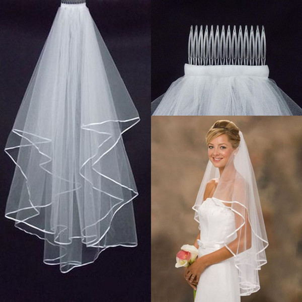 best selling New Wedding Accessories White Ivory Fashion Ribbon Edge Short Two Layer Bridal Veil With Comb High Quality Free Shipping