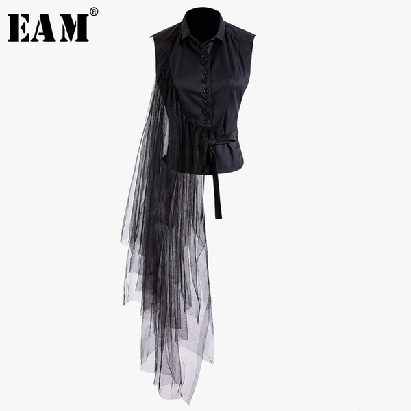 [eam] 2019 new spring summer lapel sleeveless black irregular bandage mesh stitch loose shirt women blouse fashion tide jt870, White