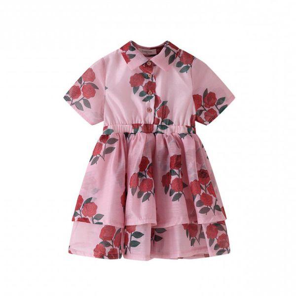 Summer kids designer clothes girls dresses flower girl dresses Boutique princess kids dress sweet beach dress kids clothes A5603