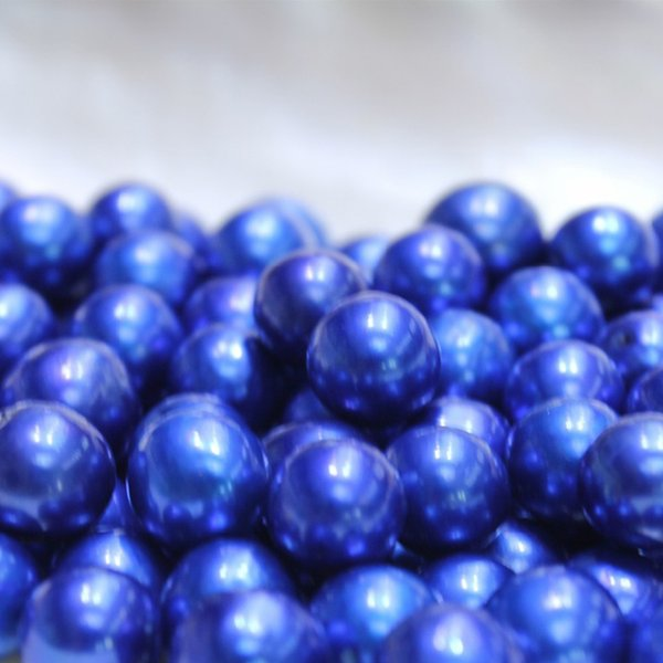 JNMM 20 Pcs/Lot 10-12mm Round Edison Blue Loose Freshwater Pearl Beads Undrilled Mixed Color for Jewelry Making Gift