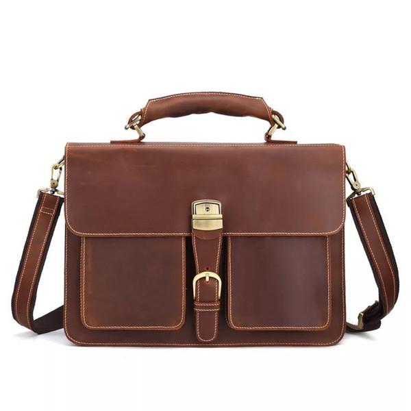 Los hombres de cuero genuino maletines Vintage Crazy Horse cuero Messenger Bag Mulit-funcional 16 pulgadas portátil Tote Bag 8838