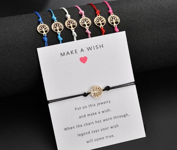 20 teile / los Glücklicher Roter Faden Justierbare Wish Bracelets Für Frauen Männer Gold Life Tree Charms Armband Beste Geschenk Für Geburtstag