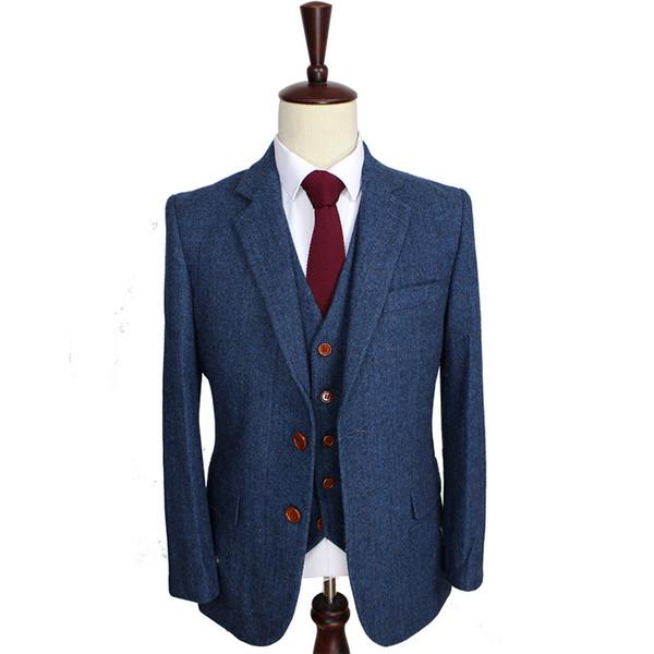 Wolle Blue Herringbone Retro Gentleman-Stil nach Maß Herrenanzüge Schneider Anzug Blazer Anzüge für Männer 3 Stück (Jacke + Pants + Weste)
