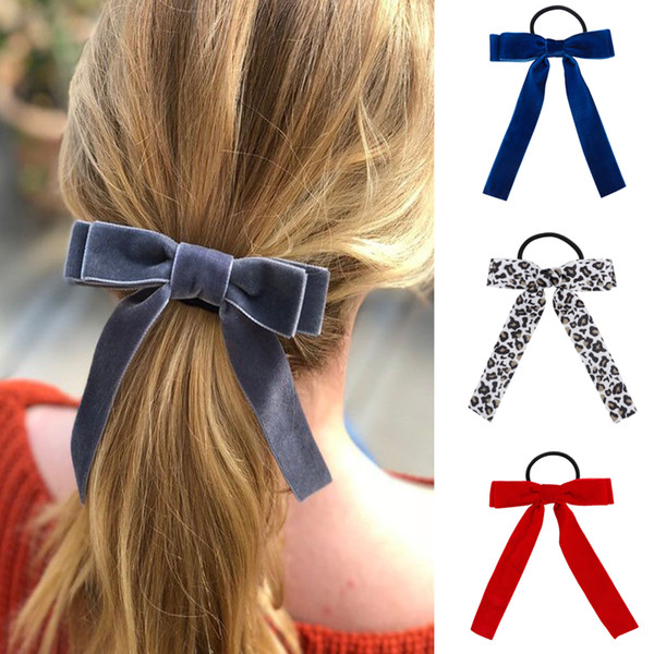 Korean Girl Hair Rope Velvet Scrunchie leopard Elastic HairBands For Women Elegant Bow Hair Ties Ponytail Holder Canvas Hair Accessories
