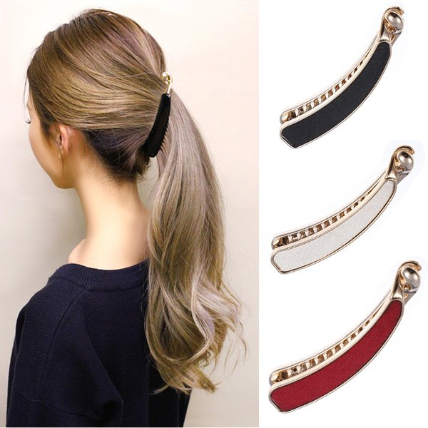 M MISM 1PC Solid Cloth Hairpins Girl Banana Barrettes Clip Korean Style for Elegant Female with Teeth Hair Clip Hair Accessories D19011502