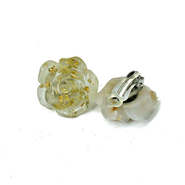 Non Pierced Big Flower Clip Earrings For Women No Ear Hole Resin Jewelry Big Ear Cuff Earring Without Piercing Floral Earings
