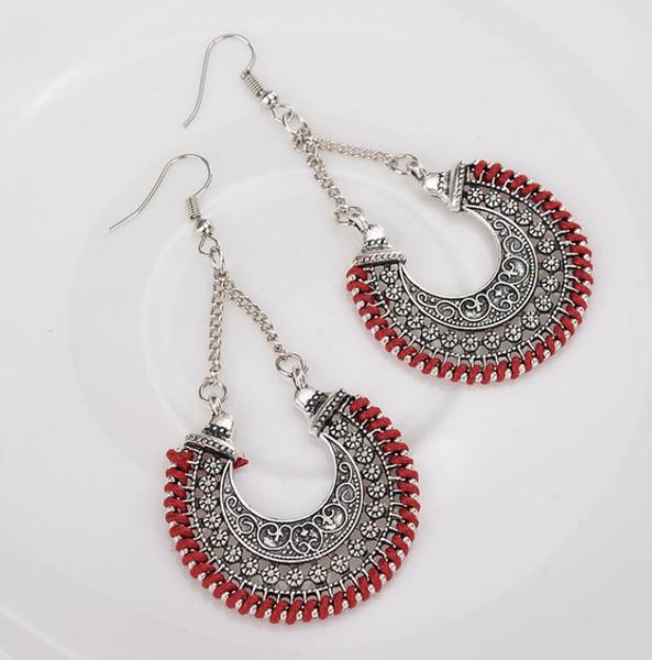 Yunnan ethnic style vintage carved alloy earrings Miao jewelry female long earrings earrings ladies gifts