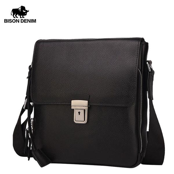 BISON DENIM Genuine Leather Men's Bag Brand Black Business Male Messenger bags Man Crossbody Bags For Men ipad N2531