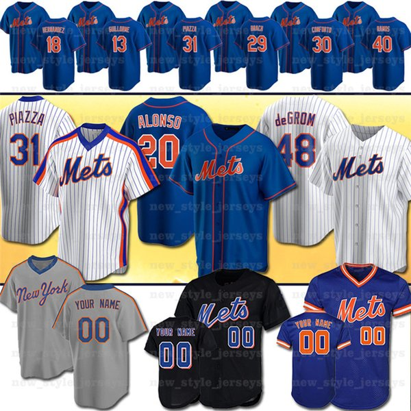 best selling 20 Pete Alonso 2020 new Mets Baseball Jerseys 48 Jacob deGrom Darryl Strawberry Keith Hernandez Dwight Gooden 31