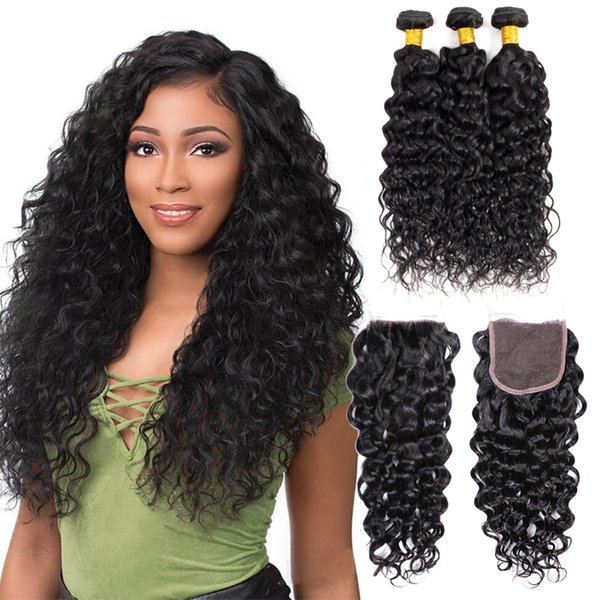 Mjoli 9A Water Wave Body Wave Human Hair Bundles with Closure Deep Wave 3Bundles with Lace Closure 8-28 inch Remy Human Hair Extensions
